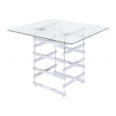 """42""""x42""""x36"""" Clear Glass And Chrome Counter Height Table"""