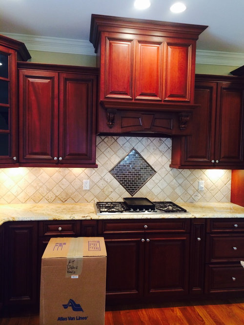 Backsplash For Cherry Cabs And Colonial Cream Granite