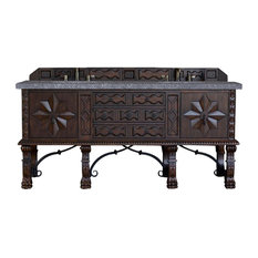 "Balmoral 72"" Double Vanity Cabinet, Antique Walnut, 4CM Black Rustic Stone Top"