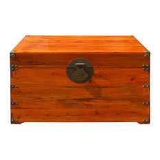 Oriental Chinese Brown Wood Moon Face Hardware Trunk Table