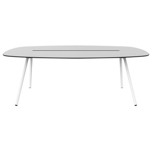Medium A-Lowha Long Board Table, Grey, White Frame