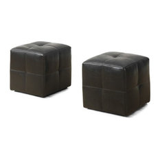 Monarch Leather Cube Ottoman in Dark Brown (Set of 2)