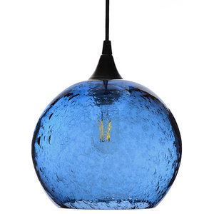 Lunar Pendant No. 768, Blue Glass Shade, Black Hardware, 8 Watt