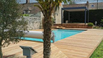 Installation d'une terrasse en bois exotique et d'une pergola bioclimatique