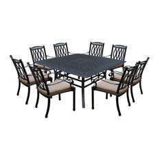 9-Pc Trendy Outdoor Dining Set in Antique Black