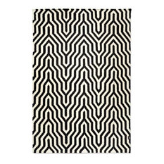 Classic Collection Optical Patterned Rug, Black, 350x250 cm