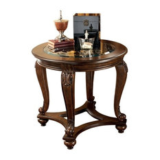 Traditional Stylish End Table, Manmade Wood and Veneer With Glass Top