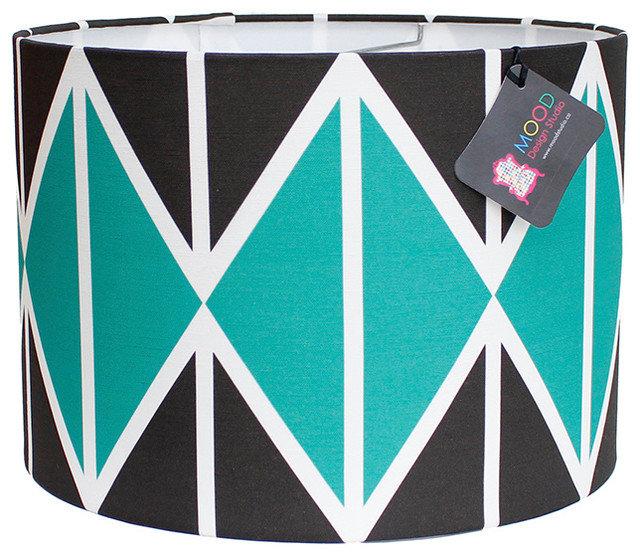 "Modern Lamp Shades Modern Lamp Shade - Striing Diamonds - Emerald and Black, 12"""