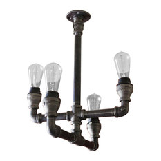 Steampunk Pipe Industrial Lighting Chandelier, No Mason Jars, Galvanized Pipe