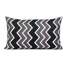 """Chevron"" Black, White and Gray Pillow Cover"
