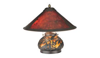 "Meyda 15.5""H Van Erp Amber Mica Lighted Base Table Lamp"