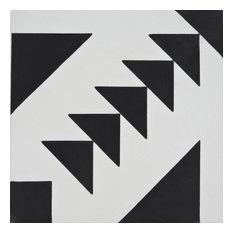 """8""""x8"""" Tadla Handmade Cement Tile, Black/White, Set of 12"""