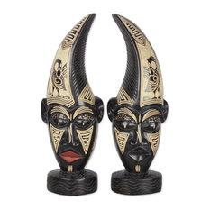 Novica Sankofa Twins African Wood Masks, Set of 2