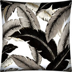 Joita, llc - Palmorina Indoor/Outdoor Pillows, Sewn Closure, Set of 2 - Set of 2 - Palmorina (black) modern/contemporary look for the West Indies Decor in shades of gray and black with khaki accents on a white background. Constructed with an outdoor rated zipper, thread and fabric. Printed pattern on polyester fabric. To maintain the life of the pillow, bring indoors or protect from the elements when not in use. Spot clean, hang to dry. Do not dry clean. Two complete pillows with stuffing and sewn closures.