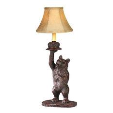Sculpture Table Lamp Honey Pot Bear Rustic Hand Painted OK Casting