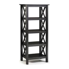 Riverbay Furniture Baldwin X-Design Solid Wood 4-Shelf Bookcase In Black