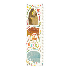 """""""I Carry Your Heart - Woodland Animals"""" Canvas Growth Chart by Irene Chan"""