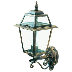 New Orleans IP44 Black and Gold Outdoor Wall Uplighter With Clear Glass