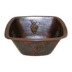 "15"" Square Copper Kitchen Wet Bar Sink GRAPES Design"