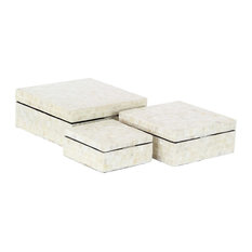 Modern Shell-Inlaid Rectangular Wooden Boxes With Lids, 3-Piece Set, White