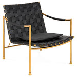 Jonathan Adler - Thebes Lounge Chair - Inspired by Thebes stools, beloved by everyone from Egyptian pharaohs to Liberty of London, our Thebes Lounge Chair is a modern take on a decorating classic. An architectural brass frame with signature Thebes spokes supports an expertly pitched and spacious seat woven from strips of hardworking black leather and topped with a removable cushion. The swooping armrest is wrapped in black leather cord for added softness and style. This handsome seat is modern enough for a Mies van der Rohe pavilion but swanky enough for a Parisian chateau.