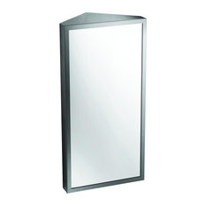 Wall Mount Corner Medicine Cabinet Brushed Stainless Steel by Renovator's Supply