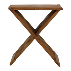 Cortesi Home - Rocco Folding Stool, Solid Teak Wood - Outdoor Bar Stools and Counter Stools