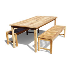 """82x35"""" Cannes Table, 2 Backless Benches, Grade A Teak"""