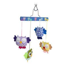 Eclectic Nursery Hawaii Pillowed - Mini Owls Door Mobile - Baby Mobiles