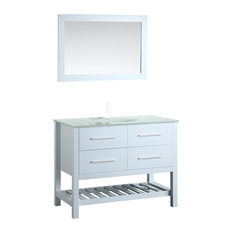 43'' Single Vanity With Tempered Glass Top White