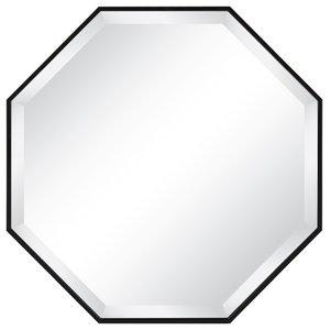 Rhodes Framed Octagon Wall Mirror, Black 24.75x24.75