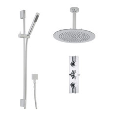"Tec Thermostatic Shower System Set in Chrome - 12"" Ceiling Head & Handspray Kit"