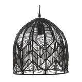 Black Woven Rattan Pendant Lamp, Medium