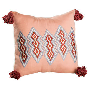 Grey Orange and Red Backstrap Pillow Cover