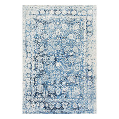 "Traditional Vintage Decorative Plumes Rug, Blue, 7'6""x9'6"""