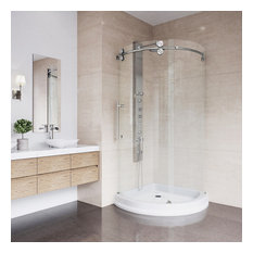 "40""x40"" Frameless Round 5/16"" Steel Shower, Left-Sided Door With White Base"