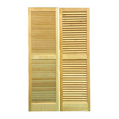 """Solid Wood Louvered Shutters, 15"""" W X 51"""" H, 1 Pair"""