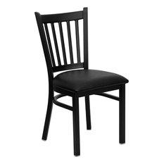 Hercules Series Black Vertical Back Metal Restaurant Chair, Black Vinyl Seat
