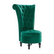 Royal High Back Velvet Tufted Ottoman Chair, Green