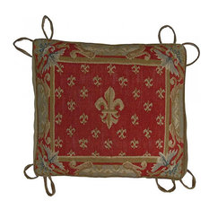 Chair Cushion Aubusson Fleur de Lis 18x20 Beige Velvet Down/Feather