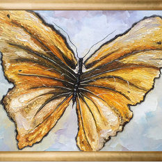 "Art ""Butterfly"" Oil Painting, Gold Luminoso Frame 20""x24"""