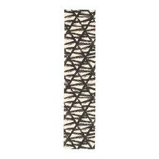 Bellisima Kitchen Runner Rugs, Anti Skid Rubber Backing, Black, Ivory, 2'2x10'