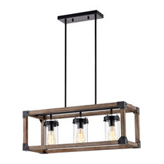 Gelboy 30 Inch Forged Black and Imitation Wood Grain Pendant Lamp