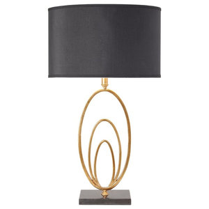 Vilana Antique Gold Leaf Table Lamp With Black Marble Base and Shade