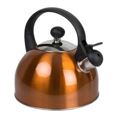 Safe Pour Brushed Stainless Steel Whistling Tea Kettle, Copper, 2.5 Liter