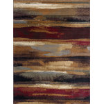 Tayse Rugs - Dakota Contemporary Abstract Area Rug, Multi-Color, 7'10'' X 10'3'' - Make a bold style statement with the handsome design and rich colors of the Dakota Contemporary Abstract Area Rug. Showcasing a simple brushstroke pattern, this piece will add a pop of abstract style to any room your roll it out in. Lay this rug out in your entryway to welcome guests with a homey and comfortable ambiance.