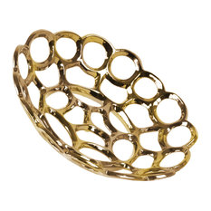 Round Ceramic Tray with Chainlink Design, Polished Chrome Gold Finish, Small