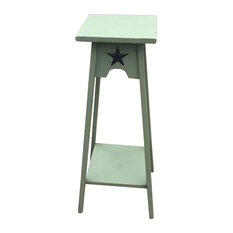 Primitive Pine Square Side Table/Plant Stand With Rustic Star, Green