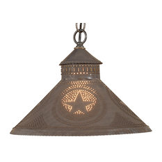Stockbridge Shade Light Pendant with Star in Blackened Punched Tin