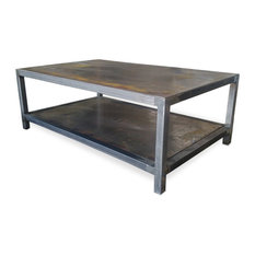 Metal Welded Steel Two Tier Coffee Table, Industrial Modern